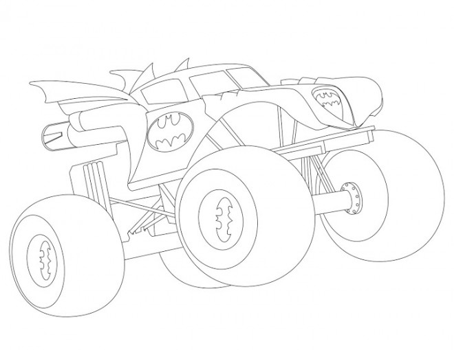 Free coloring and drawings Monster Truck Batman Coloring page
