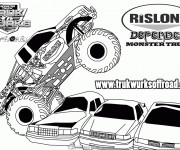 Free coloring and drawings Monster Truck Defender Coloring page