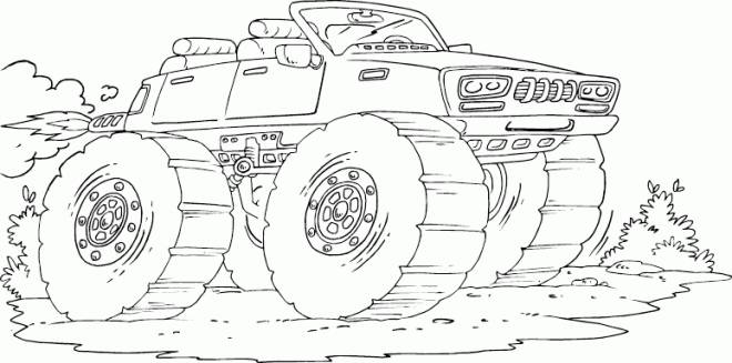 Free coloring and drawings Monster Truck drives fast Coloring page
