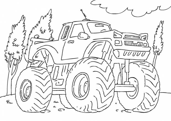 Free coloring and drawings Monster Truck for racing Coloring page