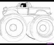 Coloring pages Monster truck in black
