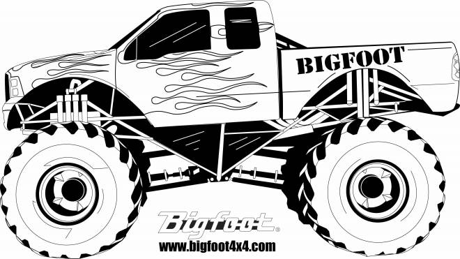 Free coloring and drawings Monster Truck in black and white Coloring page