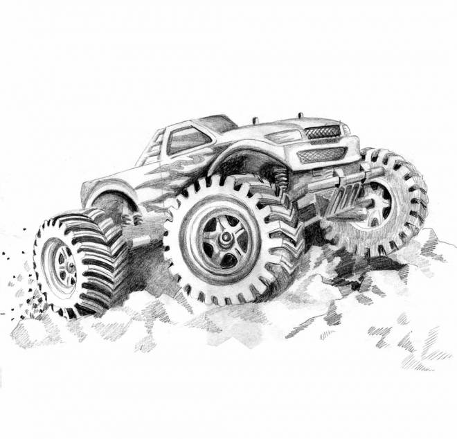 Free coloring and drawings Monster Truck in pencil Coloring page