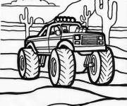 Coloring pages Monster Truck in the American Desert
