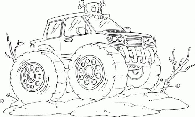 Free coloring and drawings Monster Truck in the desert Coloring page