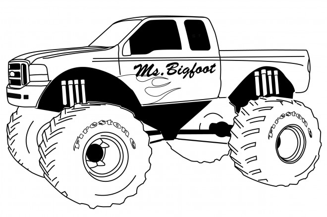 Free coloring and drawings Monster Truck Ms.Bigfoot Coloring page