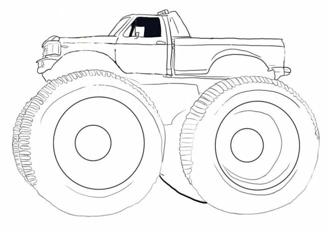 Free coloring and drawings Monster truck vector Coloring page