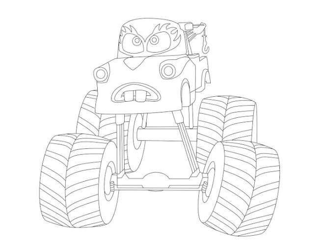Free coloring and drawings Monster truck with face Coloring page