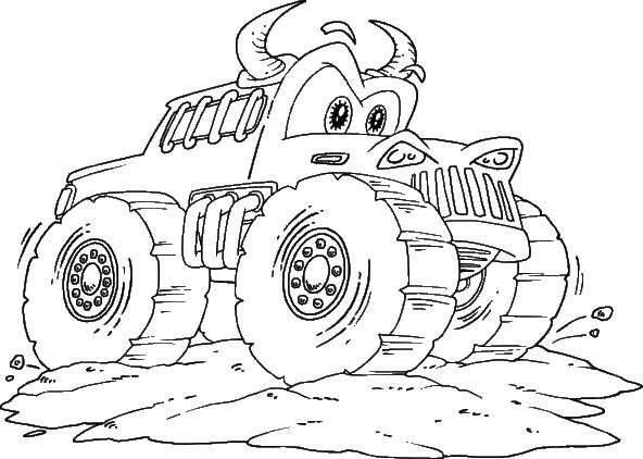 Free coloring and drawings Monster Truck with horns Coloring page