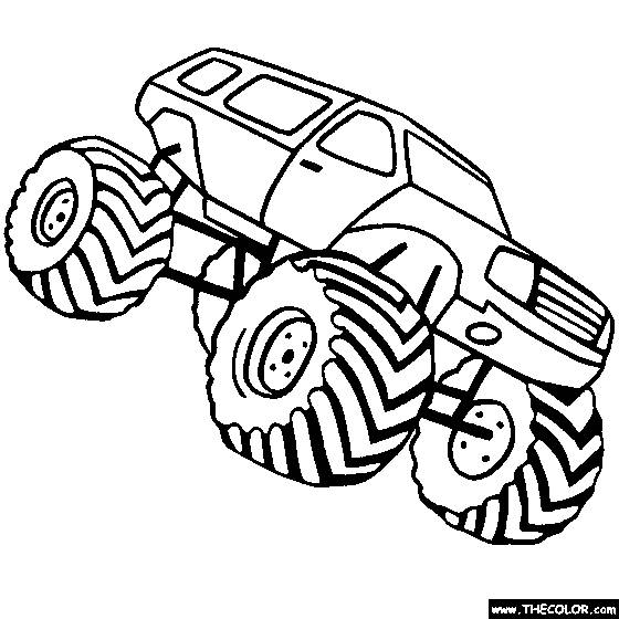 Free coloring and drawings Monster Truck with oversized wheels Coloring page