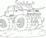 Free coloring and drawings Stylized Monster Truck Coloring page