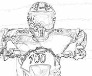 Free coloring and drawings A portrait of the Motocross Rider Freestyle Coloring page