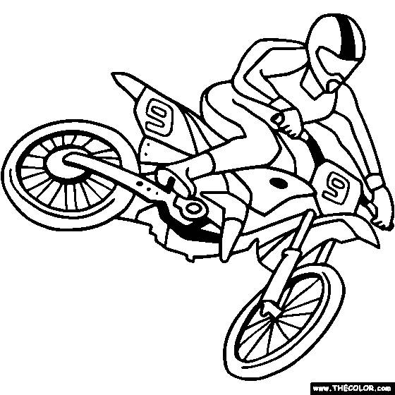 Free coloring and drawings Easy motocross Coloring page