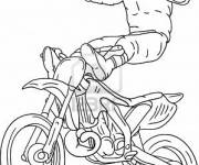 Free coloring and drawings Motocross and Motorcyclist up Coloring page