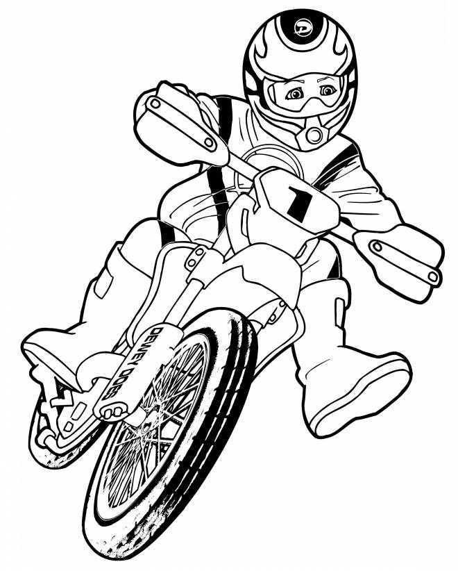 Free coloring and drawings Motocross for children Coloring page
