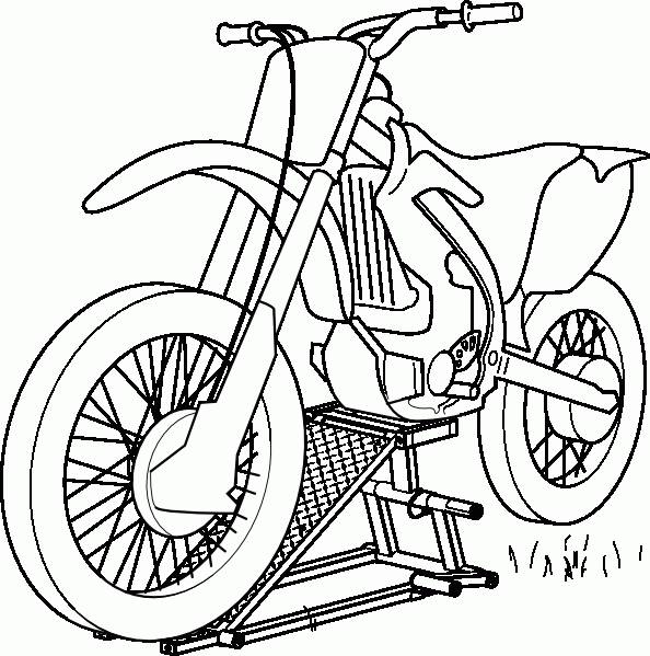 Free coloring and drawings Motocross front view Coloring page