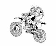Free coloring and drawings Motocross in black and white Coloring page
