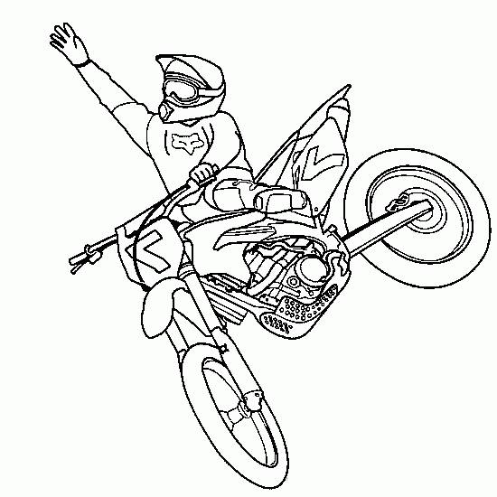 Free coloring and drawings Motocross jumping extreme sport Coloring page