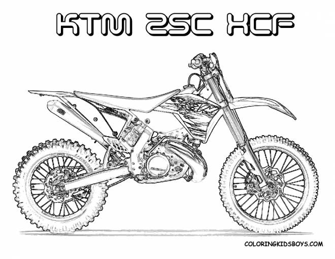 Free coloring and drawings Motocross Ktm for cutting Coloring page