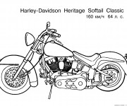 Coloring pages Harley Davidson  Heritage Softail