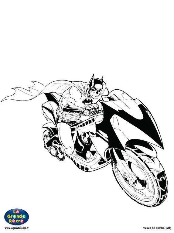 Free coloring and drawings Batman and his Motorcycle Coloring page