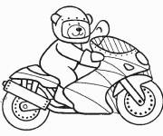 Free coloring and drawings Bear riding motorcycle Coloring page
