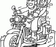 Coloring pages Father and daughter on motorbike