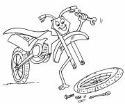 Free coloring and drawings Humorous motorcycle for children Coloring page