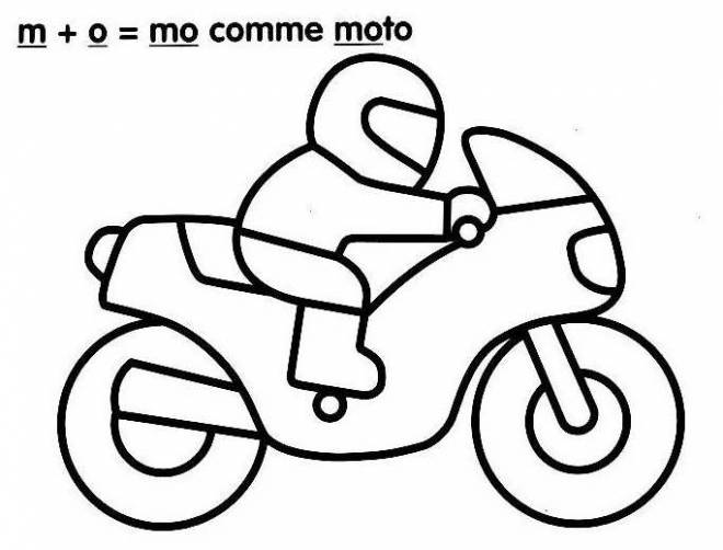 Free coloring and drawings Stylized Child Motorcycle Coloring page