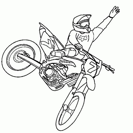 Free coloring and drawings A color Motocross show Coloring page