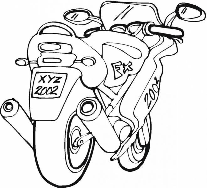 Free coloring and drawings A fast motorcycle to download Coloring page