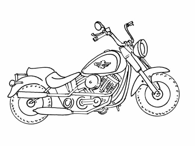 Free coloring and drawings A Harley Davidson Motorcycle Coloring page