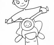 Coloring pages Child motorcyclist in pencil