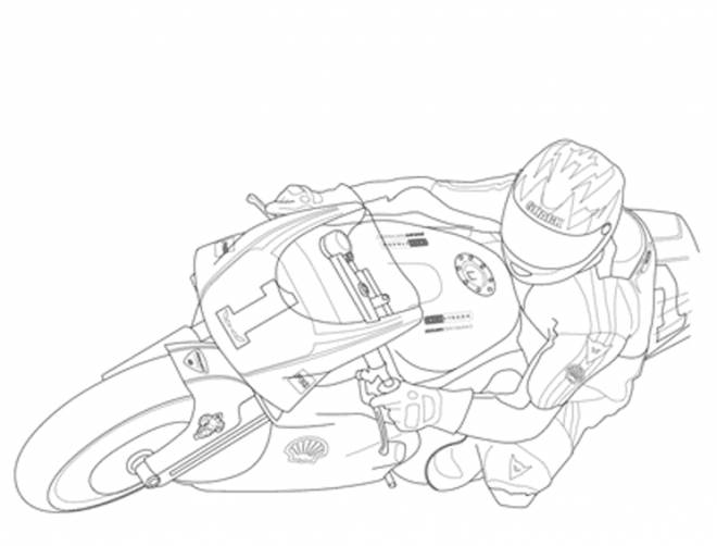 Free coloring and drawings Color racing motorcycle Coloring page