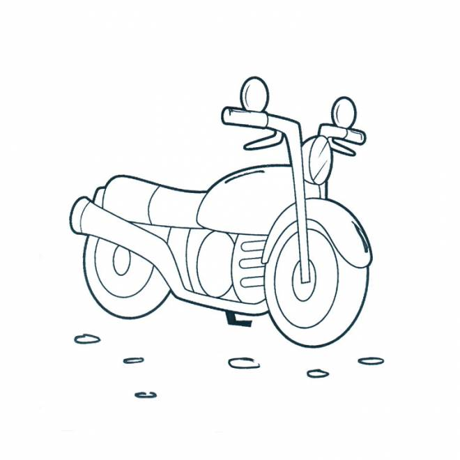 Free coloring and drawings Easy motorcycle Coloring page