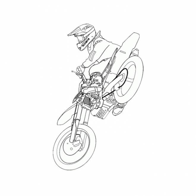 Free coloring and drawings KTM Motocross in the air Coloring page