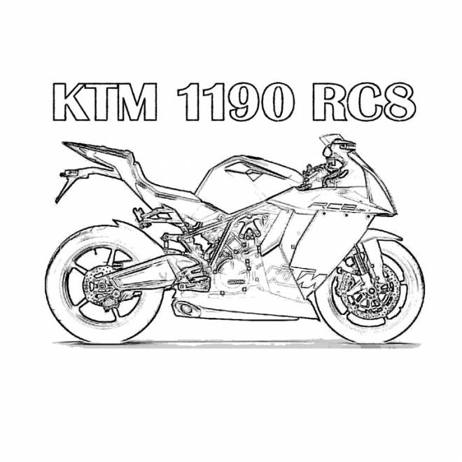 Free coloring and drawings Motocross Ktm RC8 Coloring page