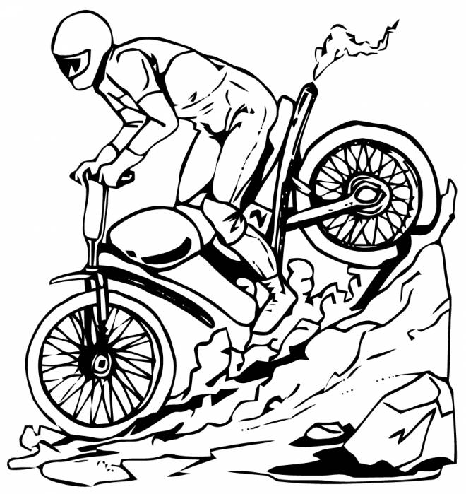 Free coloring and drawings Motocross Yamaha Coloring page