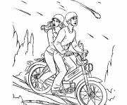 Coloring pages Motorcycle descending from a mountain