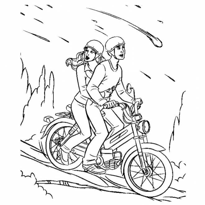 Free coloring and drawings Motorcycle descending from a mountain Coloring page