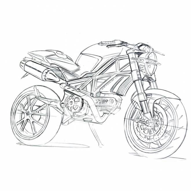 Free coloring and drawings Super racing motorcycle Coloring page