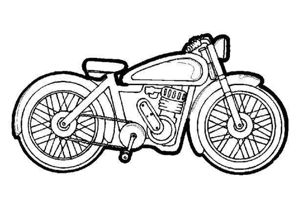 Free coloring and drawings Vector racing motorcycle Coloring page