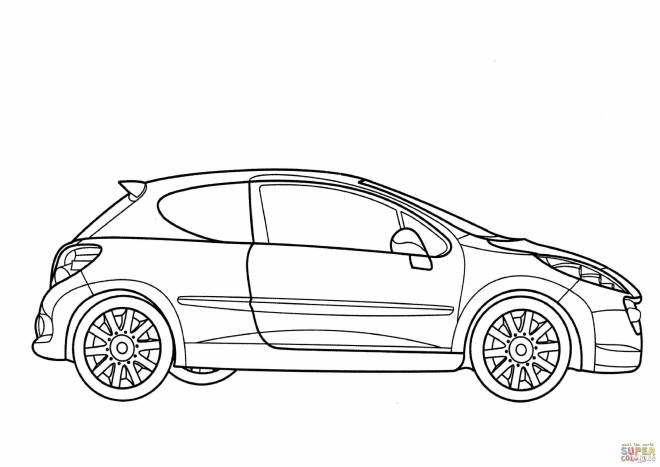 Free coloring and drawings Peugeot 206 model Coloring page