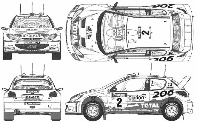 Free coloring and drawings Peugeot 206 Rally Coloring page