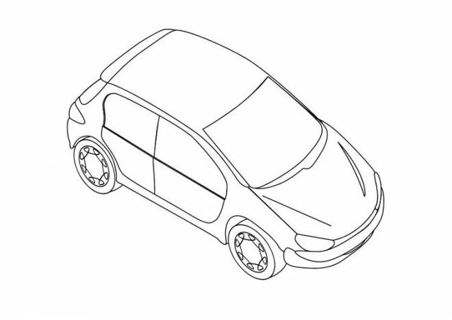 Free coloring and drawings Peugeot 206 stylized Coloring page