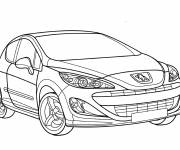 Free coloring and drawings Peugeot 208 car Coloring page