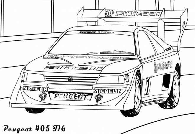 Free coloring and drawings Peugeot 405 racing car Coloring page