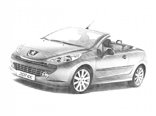 Free coloring and drawings Peugeot convertible Coloring page
