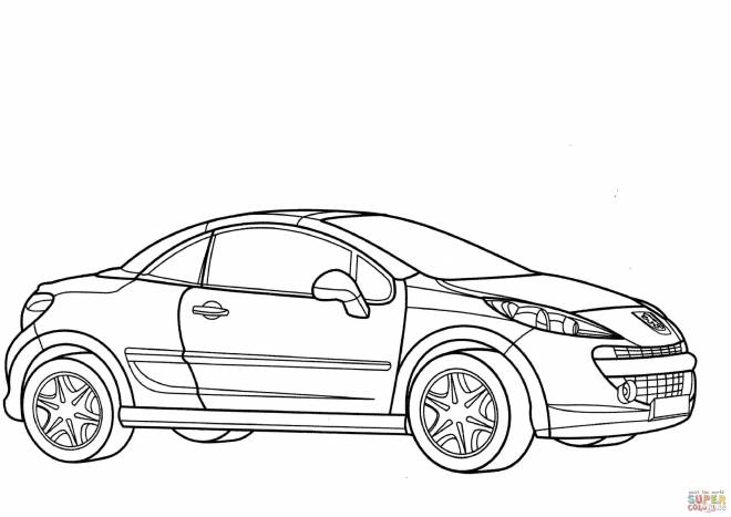 Free coloring and drawings Peugeot coupe car Coloring page