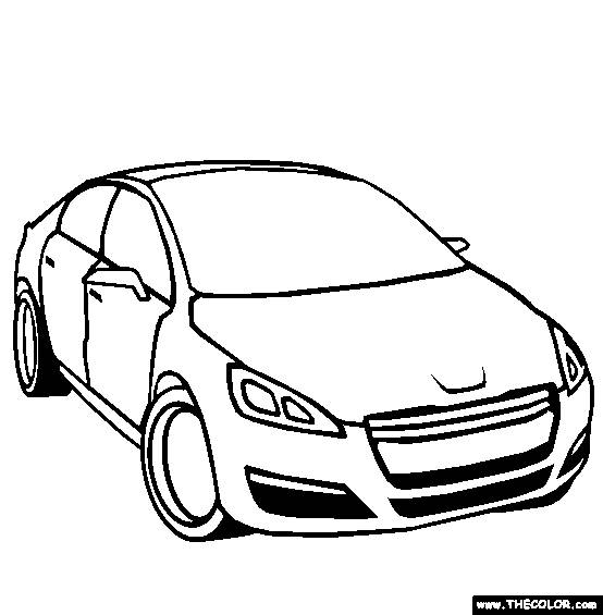 Free coloring and drawings Peugeot in black and white Coloring page